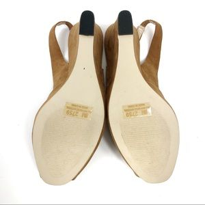 Cato Shoes - Cato Tan Faux Suede Peep Toe Sling Back Wedges 8
